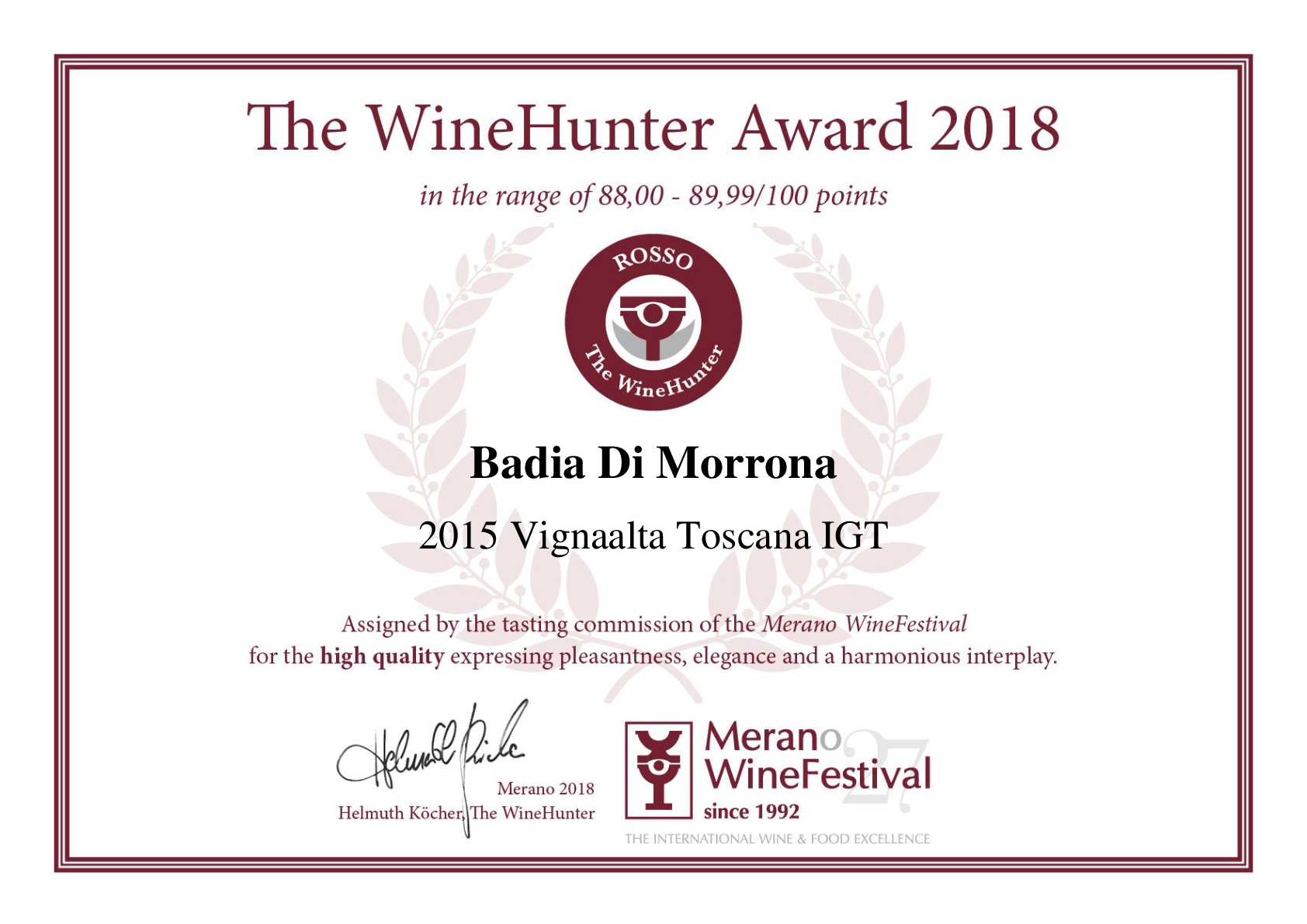 The WineHunter Award_ROSSO98-001